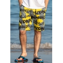 Men's Summer New Popular Letter Print Quick Drying Drawstring Waist Beach Shorts Swim Trunks with Pockets
