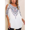 Womens Trendy Tribal Printed Round Neck Cold Shoulder Short Sleeve White Tee