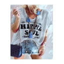 Hot Popular Street Letter HIPPIE SOUL Print V-Neck Short Sleeve Casual Tee