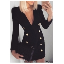 Womens Sexy Plunging V-Neck Long Sleeve Plain Black Double-Breasted Mini Fitted Blazer Dress