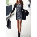 Womens New Stylish Two-Tone Long Sleeve Cotton Ruched Grey Mini Sheath Dress
