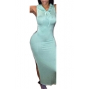Womens Trendy Light Green Sleeveless Split Side Plain Maxi Hooded Bodycon Dress for Party