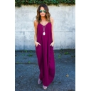 Womens Hot Popular Simple Plain V-Neck Slouchy Maxi Beach Slip Dress with Pocket