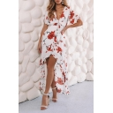 Womens Summer Fancy Floral Pattern Knotted V-Neck Flutter Sleeve High Low Hem Maxi Dress
