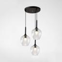 Glass Bottle Shaped Hanging Light for Restaurant Post Modern 3 Lights Pendant Lamp in Black Finish