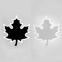 Maple Leaf Shaped LED Wall Lamp Contemporary Metal Body Sconce Lighting in Black/White