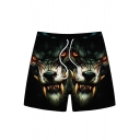 Men's Cool Fashion Creative 3D Wolf Printed Drawstring Waist Black Sports Shorts