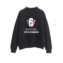 Cool Number 6 Logo Printed Mock Neck Long Sleeve Casual Pullover Sweatshirt