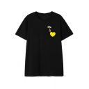 Funny Simple Heart Pattern Round Neck Short Sleeve Loose Fit Tee