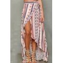 Womens Summer Stylish Geometric Printed Split Front Chiffon Maxi Beach Wrap Skirt