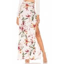 Summer Women's Fashion White Floral Print Split Side Maxi High Waist Fitted Skirt