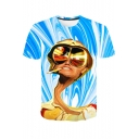 Funny Twist Figure with Glasses 3D Print Round Neck Short Sleeve Blue Tee