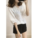 Summer Girls White V-Neck Fashion Hollow Out Lace Blouse Shirt