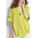 Womens Plus Size Fashion Plain Single Button Front V-Neck Loose Fit Blouse Top