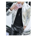 Mens Cool Metallic Color Plain Long Sleeve Stand Collar Zip Up Fitted Jacket