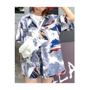 Summer Girls Street Fashion Pattern Short Sleeve Casual Button Shirt