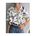Summer Fashion Floral Leopard Printed Notched Lapel Collar Short Sleeve White Shirt