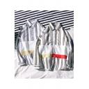 Mens Fashion Patchwork Trendy Vertical Stripe Print Long Sleeve Loose Button Shirt