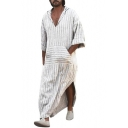 Mens Designer Unique White Striped V-Neck Hooded Casual Loose Linen Extra Long Shirt Blouse Kaftan