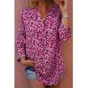 Womens Stylish Floral Pattern V-Neck Long Sleeve Loose Leisure Blouse Top
