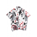 Guys Funny Allover Poker Card Printed Short Sleeve Casual Loose Button Up Shirt
