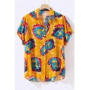Mens Summer Hot Popular Short Sleeve Button Front Loose Cotton Beach Hwaiian Shirt