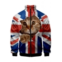 Independence Day Funny 3D Flag Cat Print Stand Collar Long Sleeve Zip Up Jacket