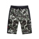 Men's Summer New Fashion Camouflage Printed Drawstring Waist Casual Active Shorts with Side Pocket