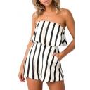 Fancy Girls Summer Striped Printed Sleeveless Zipper-Back Strapless Romper