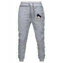 New Fashion Cartoon Figure Printed Drawstring Waist Guys Casual Sports Joggers Sweatpants