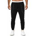Men's New Fashion Pleated Zipper Embellished Simple Plain Black Drawstring Waist Casual Sports Pencil Pants
