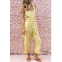 Summer Womens Halter Square Neck Sleeveless Sexy Open Back Wide-Leg Overall Jumpsuits