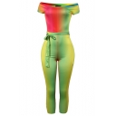 Summer Stylish Ombre Color Off the Shoulder Short Sleeves Tie-Waist Skinny Jumpsuits for Women