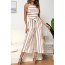Womens Halter Neck Sleeveless Stripped Print Tie Waist Casual Loose Holiday Wide Leg Jumpsuit