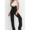 Womens Hot Sexy Black Spaghetti Straps Fitted Overall Jumpsuits