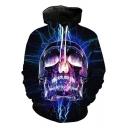 Cool Unique Lightning Skull Pattern Long Sleeve Black Unisex Hoodie