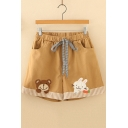 Girls Lovely Cartoon Bear Rabbit Embroidery Drawstring Waist Khaki Casual Shorts