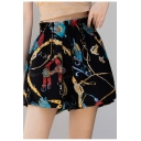Summer Womens Fashion Printed Elastic Waist Loose Leisure Chiffon Shorts