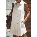 Womens Chic Plain Sleeveless Button Down Mini Casual Shirt Dress