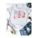 Basic V-Neck Short Sleeve Arrow Star Flag Print Casual Loose Tee
