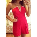 Womens Pink V-Neck Beading Embellished Strapless Sleeveless Summer Stylish Bustier Romper