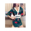 Womens Sexy Night Club Chic Blue Floral Print Surplice V-Neck Mini Bodycon Kimono Dress