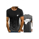 Summer Popular Wolf Head Print Basic Round Neck Short Sleeve Fitted T-Shirt for Men