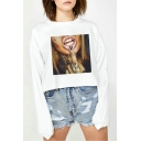 Womens Cool Figure Lip Print Long Sleeve Casual Cropped Sweatshirt