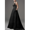 Womens Stylish Plunge V Neck Sleeveless Crochet Plain High Waist Evening Party Maxi Dress