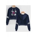 Unique Cool Lip Letter Thank U Next Print Stripe Long Sleeve Crop Drawstring Hoodie