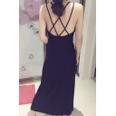 Womens Hot Popular Black Crisscross Back Sleeveless Chic Maxi Dress