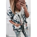 Womens Popular Fancy Floral Printed Drawstring Hem Loose Sport Zip Up Hoodie