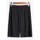 Summer New Fashion Stripe Pattern Elastic Waist Casual Relaxed Sweat Shorts