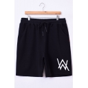 Men's Popular Fashion Letter W Logo Printed Drawstring Waist Black Cotton Relaxed Sweat Shorts